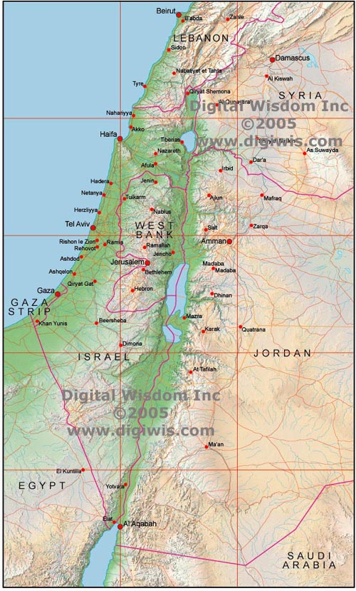 Israel - Map of egypt israel jordan